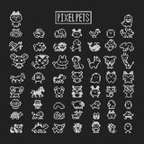 Collection of pixel animals like vintage personal game. Vector pets zoo set Royalty Free Stock Images