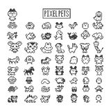 Collection of pixel animals like vintage personal game. stock illustration