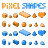 Collection of pixel art 3d isometric shapes. Old fashion 8 bit game. Orange and blue colors Royalty Free Stock Images