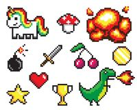 Collection of Pixel Objects Vector Illustration. Collection of pixel objects used in games, heart and star, coin and sword, bomb and explosion, dinosaur and royalty free illustration