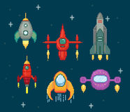 Collection of pixel spaceships Stock Image