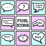 Collection of pixel speech bubbles and dialog balloons on blue and pink background. Vector Royalty Free Stock Photos