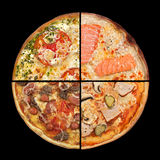 Collection pizza slices on black Stock Image