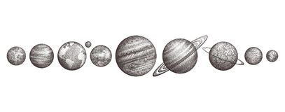 Collection of planets in solar system. Engraving style. Vintage elegant science set. Sacred geometry, magic, esoteric vector illustration