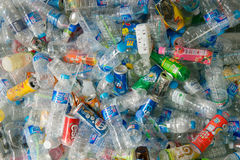 Collection of plastic bottles and cans Royalty Free Stock Photography