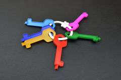 Collection of plastic keys on gray background Royalty Free Stock Photo