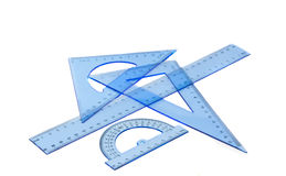 Collection of plastic transparent rulers Royalty Free Stock Image