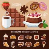 Collection plate d'icônes de chocolat Image stock