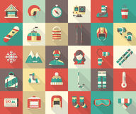 Collection plate d'icône d'activité d'hiver Image libre de droits