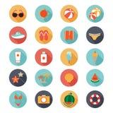 Collection plate d'icônes avec la longue ombre de l'été Photo stock