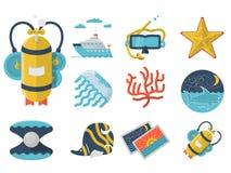 Collection plate d'icônes de couleur d'été Photo stock