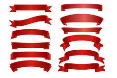 Collection plate de bannière rouge de ruban de vecteur Photos libres de droits