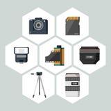 Collection plate de vecteur d'icônes d'équipement de photographie Photos libres de droits
