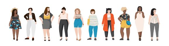 Collection of plus size women dressed in stylish clothing. Set of curvy girls wearing trendy clothes. Female cartoon. Characters isolated on white background vector illustration