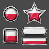Collection of poland flag icons Royalty Free Stock Photography