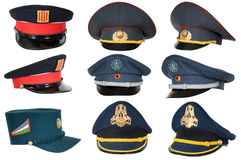Collection of police peak-caps. Royalty Free Stock Photography