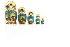 Collection Polish traditional Babushka dolls in line. Stock Images
