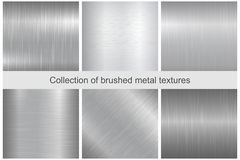 Collection of polished metal textures. Royalty Free Stock Photography