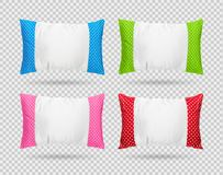 Collection of polka dots pillow isolated on transparent layer. Clipping paths object. Comfortable cushion in pattern style. Collection of polka dots pillow stock illustration