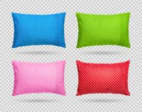 Collection of polka dots pillow isolated on transparent layer. Clipping paths object. Comfortable cushion in pattern style. Collection of polka dots pillow royalty free illustration