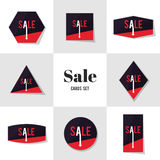 Collection Polygon shape and arrow Sale cards Stock Images