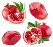 Collection of pomegranate isolated on a white background Stock Photos