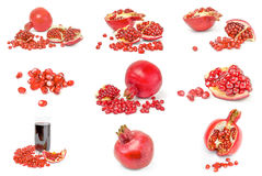 Collection of pomegranates over a white background stock image