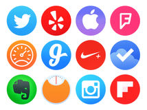 Collection of popular Apple watch application icons printed on paper. Kiev, Ukraine - April 28, 2016: Collection of popular Apple watch application icons printed stock illustration