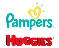 Collection of popular baby diapers brands stock photo