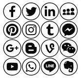 Collection of popular black round social media icons. Kiev, Ukraine - December 01, 2016: Collection of popular black round social media icons printed on paper Stock Photos