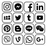 Collection of popular black social media icons. Kiev, Ukraine - December 05, 2016: Collection of popular black social media icons printed on white paper royalty free illustration