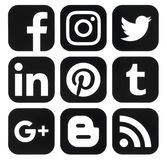 Collection of popular black social media logos printed on paper Stock Photography