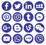 Collection of popular blue round social media icons. Kiev, Ukraine - February 13, 2017: Collection of popular blue round social media icons, printed on paper Stock Photo