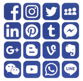 Collection of popular blue social media icons. Kiev, Ukraine - November 24, 2016: Collection of popular blue social media icons printed on paper:Facebook Royalty Free Illustration