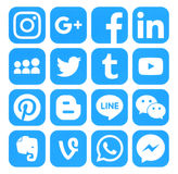 Collection of popular blue social media icons. Kiev, Ukraine - September 06, 2016: Collection of popular blue social media icons printed on paper:Facebook Stock Photography