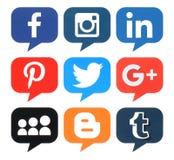 Collection of popular bubble shape social media logos Royalty Free Stock Photos