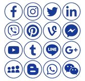 Collection of popular circle blue social media icons. Kiev, Ukraine - June 19, 2018: Collection of popular circle blue social media icons with rim, printed on royalty free illustration