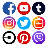 Collection of popular circle social media new icons royalty free stock photography