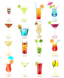 Collection of popular cocktails on a white background stock image