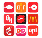 Collection of popular food icons printed on paper Stock Photos