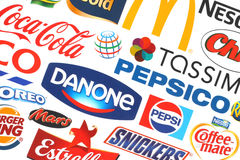 Collection of popular food logos companies Stock Photo