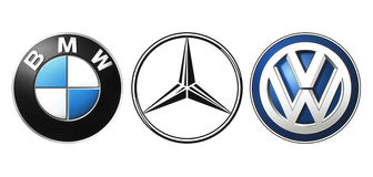 Collection of popular German car logos. Kiev, Ukraine - September 21, 2016: Collection of popular German car logos printed on white paper: Mercedes, BMW and stock illustration