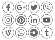 Collection of popular gray round social media icons with rim Royalty Free Stock Photography
