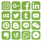 Collection of popular greenery social media icons. Kiev, Ukraine - February 07, 2017: Collection of popular greenery social media icons printed on paper Stock Images