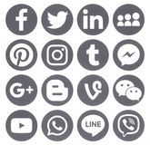 Collection of popular grey round social media icons. Kiev, Ukraine - April 27, 2017: Collection of popular grey round social media icons, printed on paper Royalty Free Stock Images