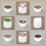 Collection of popular hot beverage menu. These foods are favorite for many peoples or carreers, Such as worker, driver, and a man who work in the night. Because Stock Photo
