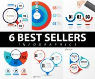 Collection of 6 popular infographics with 3 steps. Vector Stock Photography