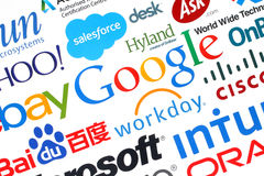 Collection of popular internet companies printed on paper. KIEV, UKRAINE - MAY 12, 2015:Collection of popular internet companies printed on paper:Google, Yahoo Royalty Free Stock Images