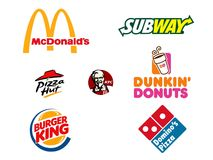Collection of Popular Junk Food Logos Royalty Free Stock Image