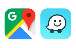 Collection of popular navigation apps icons. Kiev, Ukraine - June 25, 2016: Collection of popular navigation icons printed on paper: Google Maps and Waze Royalty Free Stock Images